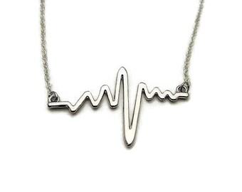 Heartbeat Necklace EKG Necklace EKG Jewelry Heartbeat Jewelry Nurse Necklace Gift for Nurse Gift for doctor Heart Necklace