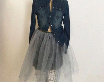 Silver Net Tutu Skirt with Camo Lining