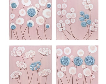 Set of Four Square Canvas Wall Art Paintings - Original Textured Flower Pink and Blue- Medium 25x25