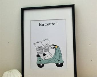Poster for boy : Choumi,  Michou on the scooter