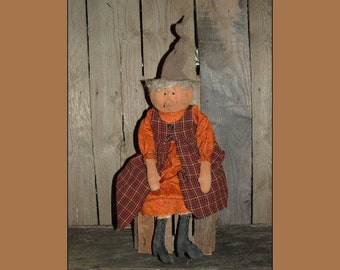 Primitive Folk Art Pumpkinhead lady Instant download patter HAFAIR,OFG,HAGUILD