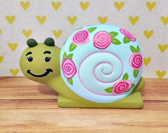 Snail Piggy Bank with Pink Flowers, Snail Piggy Bank, Flower Piggy Bank, Piggy Bank, Bank, Baby Bank, Flower Girl Gift, Piggy Bank for Girls