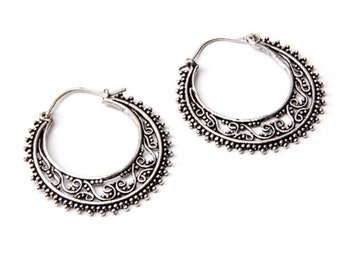 White Brass Dots Hoop  Earrings Tribal Earrings Mandala Jewellery Free UK Delivery Gift Boxed WB14 WBH1