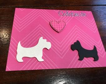 "Scottie and Westie ""Celebrate"" card"