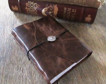 """Leather Journal - Les Miserables: """"Even the darkest night will end and the sun will rise"""" -Victor Hugo . dark brown (320pgs)"""