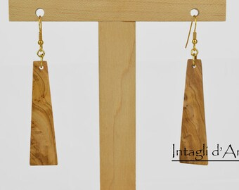 Handmade Italian Olive wood earrings, hypoallergenic