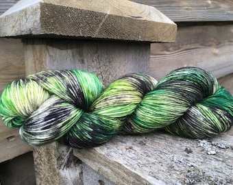 Elfwood, a hand painted sock yarn. One of a kind Dot Dye