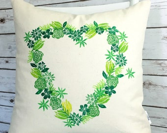 Decor pillow green valentine gift heart pillow valentine pillow handpainted pillow cover green flowers.  Ready to ship.
