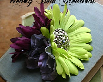 Garden Nymph Fascinator Flower Cluster Clip  - Vegan, Tribal, Belly Dance, Wedding, Pin Up, Hair Garden, Lavender, Plum, Lime Green, Daisy