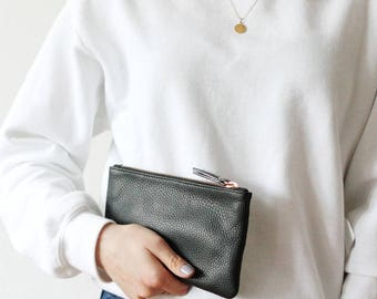 Leather Wallet Clutch / Leather Pouch - Black
