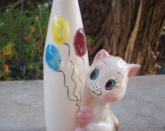 Bud Vase with Kitten and Balloons  Circa 1950's  Nursery Bud Vase with Cat and Balloons