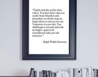 Emerson Quote, Ralph Waldo Emerson, Encouragement Quote, Transcendentalist Quote, Office Decor, Dorm Decor