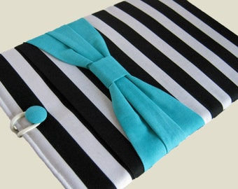 Macbook Pro Sleeve, Macbook Pro Case, 13 inch Macbook Pro Cover, 13 inch Macbook Pro Case, Laptop Sleeve, Black Stripes w/ Blue Bow