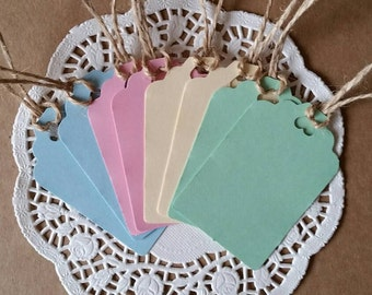 16 x RUSTIC WEDDING FAVOUR gift tags /mixed pastel colours/vintage/ hearts/