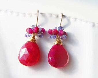 Ruby Drop Earrings, Red Gemstone Earrings, July Birthstone Jewelry, Cluster Earrings