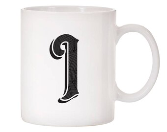 Monogram Initial Inspired Design Ceramic Coffee Mug 11oz White
