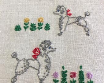Vintage 1950s Poodle Hand Towel, Linen