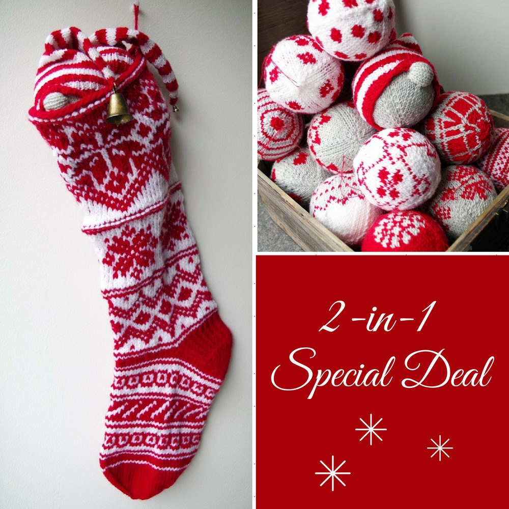 Christmas Stocking Knitting Pattern + Free Christmas Bauble Ornament ...