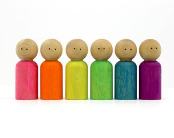 Wood Peg People Set - Neon