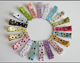 20 Assorted Dot Mix Alligator Hair Clips with No Slip Grip