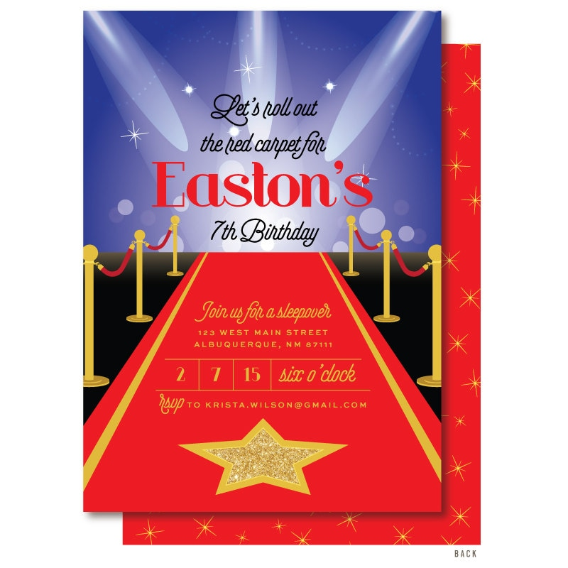 Red Carpet Invitation Hollywood Birthday Invitation Glamour