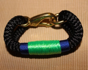Customized Maine Rope Bracelet - Black Rope - Blue / Green -Made to Order