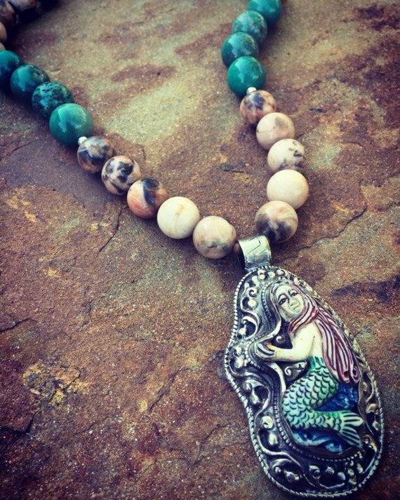 Mermaid, Feldspar, and Chrysoprase Boho Statement Necklace and Earring Set