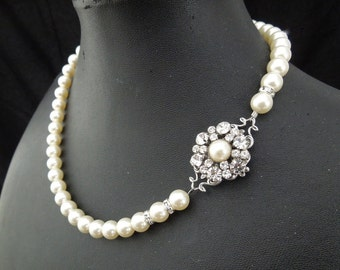 bridal pearl necklace, pearl necklace, Wedding Rhinestone necklace, swarovski crystal and pearl necklace, Statement bridal necklace, EUGENIE