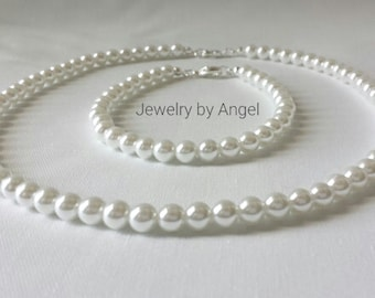 Baby Pearl Necklace Bracelet Jewelry Girls Christening Gifts, Wedding , Gift, White Pearls, First Pearl