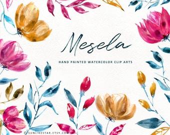 Mesela: Watercolor Floral Clipart Pack, watercolor flowers clip art, floral graphics, wedding, invitation clipart, png | SunlikeStar 183