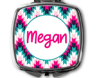 Personalized Compact Mirror~Arrow Compact Mirror~Floral Mirror~Initial Mirror~Monogrammed Compact Mirror~Bridesmaid Gift ~ Flower Girl Gift
