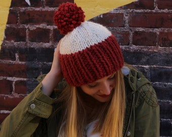 Thick hand-knit beanie