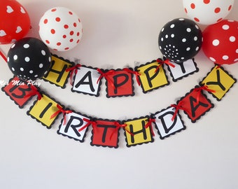 Happy birthday bunting, first birthday party, Mickey, Minnie mouse decor, cake smash photo prop