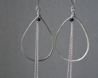 Saphire Hand Hammered Earrings in 925 Sterling Silver