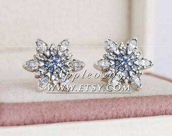 Jewelry Earrings S925 Sterling Silver Snowflake w/ Blue & Clear CZ Studs Earrings For Women Jewelry