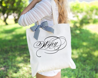 Wedding Bag for Bride or Newlywed Bridal Shower Wedding Gift, Canvas Tote Bag for Wifey, Gift for Wife Gift for Her  ( Item - BWF100)