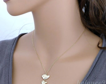 Mother bird necklace, Mama bird baby bird Necklace, dainty family necklace, small charm, gold filled chain, mom love kid, gift, by balance9
