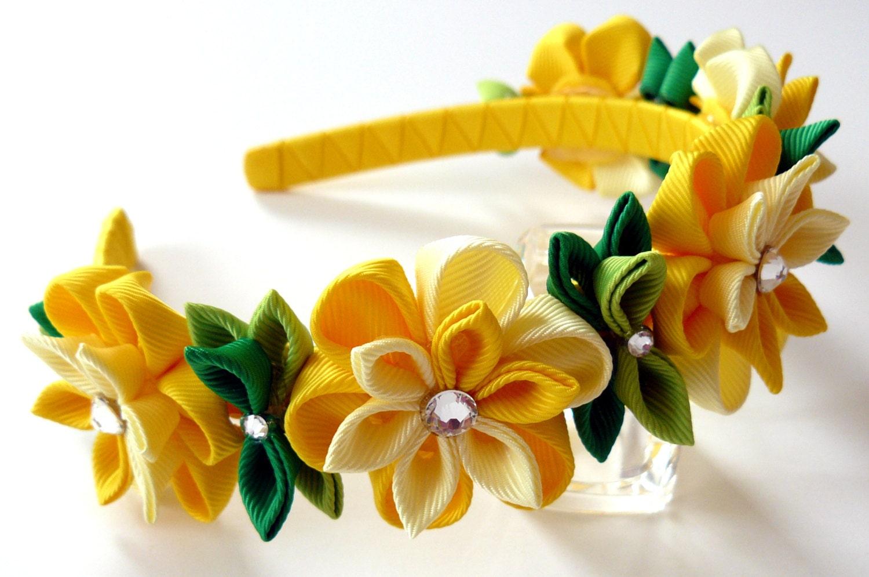 Yellow Kanzashi Fabric Flower Headband Yellow Flower Crown