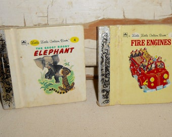 Vintage Miniature Little Golden Books, Fire Engines, The Saggy Baggy Elephant