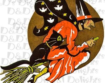 RARE Fantastic Deco Creepy Witch.  Halloween Digital Download.  Halloween Vintage Illustration