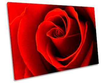 Red Rose Flower Petals Picture CANVAS WALL ART Print