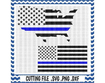 Blue Line Svg ,Blue Lives Matter, American Flag, America, Back the Blue, Police Support,Svg-Dxf-Cutting File For Cricut and Silhouette Cameo