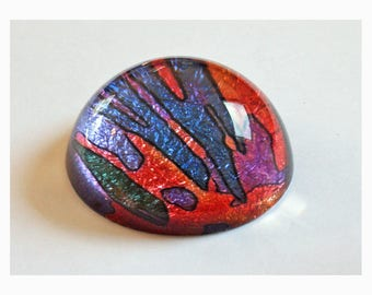 Ornamental Paperweight with original art in green blue purple orange