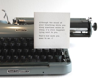 Card for him, 'Your breathing makes me crazy', boyfriend, card for husband, anniversary, typewriter, funny card, for him, black & white