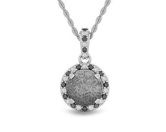Black Diamond Meteorite Pendant, Valentines Gift,  Custom Jewelry