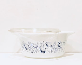 Vintage Pyrex Colonial Mist Covered Round Casserole Dish 474B - 1.5 Liter w/ Lid