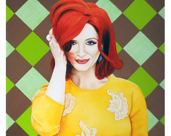 Colour Inspired Beauty - Christina Hendricks - ART PRINT - 8 x 10 - By Mixed Media Artist Malinda Prudhomme