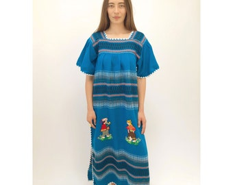 Gente Dress // vintage 70s Mexican hand embroidered maxi dress 1970s boho hippie hippy turquoise floral tunic // O/S
