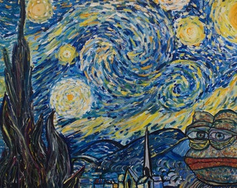Pepe the Frog Starry Night (Van Gogh) by Pepelangelo, painting, oil on canvas, bitcoins accepted