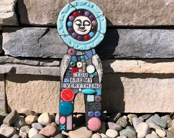 You Are My Everything. (Handmade Original Mixed Media Mosaic Assemblage Scrap Doll Wall Art by Shawn DuBois)